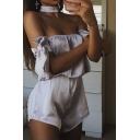 Summer Silvery Choker Neck Off Shoulder Bow Sleeve Casual Loose Bandeau Rompers
