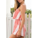 Womens Strapless Sleeveless Tribal Printed Beach Bandeau Rompers