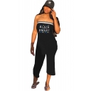 Hot Sexy Chic Strapless Sleeveless BLACK SMART Letter Geometric Printed Contrast Trim Rompers Jumpsuits