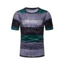 Mens Hot Popular Short Sleeve Round Neck Colorblock Slim Fit T-Shirt