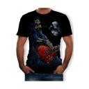 New Stylish Short Sleeve Round Neck Skeleton Skull Guitar Printed Black T Shirt