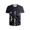 Black Short Sleeve Round Neck Funny Film Figure Printed Cool Unique Mens Tee