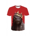 Red Short Sleeve Round Neck Crown Animal Printed Leisure Tee