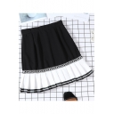 Summer New Arrival High Waist Colorblock Patch Chiffon Hem Mini Pleated A-Line Skirt