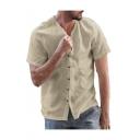 Summer Hot Fashion Short Sleeve Henley Neck Button Down Linen Cotton Shirt