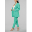 Long Sleeve Open-Front Blazer with High Waist Slim Leg Pants Two Piece Set for Office Lady