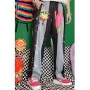 Unisex Popular Fashion Colorblock Cute Cartoon Printed Elastic Cuffs Wide Leg Pants