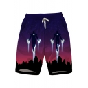 Men's Trendy Pattern Quick Drying Waterproof Purple Drawstring Waist Beach Shorts Swim Trunks