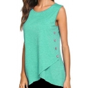 Summer Hot Stylish Plain Sleeveless Button Side Asymmetric Hem Tank Tee
