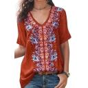 Womens Hot Trendy V Neck Short Sleeve Floral Printed Elegant Loose T Shirt