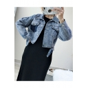 Womens Dark Blue Contrast Pocket Button Down Cropped Denim Jacket