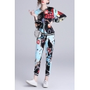Womens Fashion Blue Printed Zip Jacket with Slim Fitted Pants Two-Piece Set