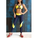 Summer Womens Fashion Two-Tone Cutout Tank Top with Skinny Leggings Yoga Sports Co-ords