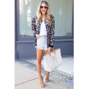 Womens Hot Trendy Leopard Printed Stand Collar Long Sleeve Zip Up Jacket