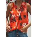 Womens Hot Trendy Floral Printed V-Neck Sleeveless Loose Leisure Blouse Top