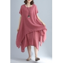 New Stylish Plain Round Neck Short Sleeve Layered Fake Two-Piece Maxi Linen Dress