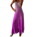 Hot Trendy Ombre Color V-Neck Sleeveless Maxi Ruffled Tank Dress