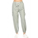 Womens Plain Drawcord Waist Flap Pocket Side Tapered Loose Cargo Pants