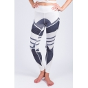 Womens Fashion White Color Block High Rise Bum Lift Slim Fit Yoga Training Leggings Pants