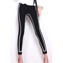 Fashion Contrast Stripe Print Black Sport Skinny Fit Leggings Pants