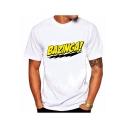 Mens Summer Funny Letter BAZINGA Print Short Sleeve Round Neck White T-Shirt