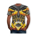 Mens Hot Fashion Short Sleeve Round Neck 3D Comic Printed Grey T-Shirt