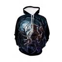 Halloween Wolf 3D Printed Black Drawstring Hooded Long Sleeve Casual Loose Hoodie
