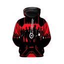Popular Comic Figure 3D Printed Black and Red Long Sleeve Casual Pullover Hoodie