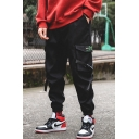 Mens Cool Fashion Graphic Label Patch Buckle Strap Embellished Flap Pocket Side Loose Fit Drawstring Sports Cargo Pants