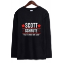 Dunder Mifflin Star Letter SCOTT Printed Round Neck Long Sleeve T-Shirt