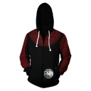 House Targaryen Dragon Badge Long Sleeve Zip Up Casual Black Hoodie