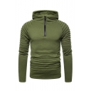 New Arrival Stylish Pleated Patched Long Sleeve Half-Zip Hooded Slim Fitness Simple Plain Men's Casual Sports Hoodie