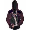Comic Figure 3D Printed Drawstring Hooded Long Sleeve Burgundy Casual Zip Up Hoodie