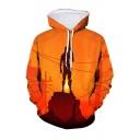 Hot Popular Game Theme Figure 3D Printed Long Sleeve Orange Loose Drawstring Hoodie