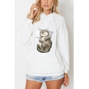 Lovely Cat Printed Long Sleeve Hoodie Sweatshirt With Pocket