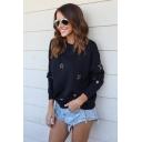 Fashion Star Print Round Neck Long Sleeve Black Sweatshirt