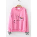 Cute Cartoon Animals Printed Pocket Round Neck Striped Long Sleeve Pullover Sweatshirt