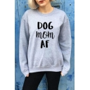 DOG MOM AF Letter Print Long Sleeve Round Neck Grey Pullover Sweatshirt