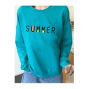 SUMMER Letter Print Long Sleeve Round Neck Pullover Sweatshirt