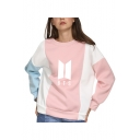 Trendy Kpop Logo Printed Color Block Long Sleeve Pullover Sweatshirt