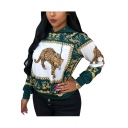 New Stylish Tribal Tiger Print Long Sleeve Green Hoodie