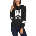 Trendy Kpop Logo Print Stripe Long Sleeve Relaxed Hoodie