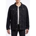 Mens Vintage Plain Lapel Collar Long Sleeve Casual Oversize Black Denim Jacket