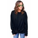 Women's Plain Long Sleeves Twist Hem Pullover Loose Sweatshirt
