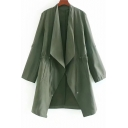 Army Green Collared Neck Long Sleeve Drawstring Waist Long Trench Coat