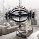 Concentric Living Room Chandelier Metal 6/8 Lights Industrial Hanging Pendant in Black