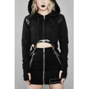 Hot Fashion Punk Style Black Long Sleeve Chain Embellished Zip Up Cropped Hoodie