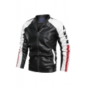 New Trendy Colorblock Print Long Sleeve Stand-Collar Zip Up Casual Leather Jacket For Men