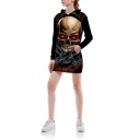3D Skull Print Long Sleeve Long Pullover Hoodie With Pocket