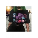 New Trendy NEKO MANCER Letter Comic Printed Round Neck Short Sleeve Black T-Shirt